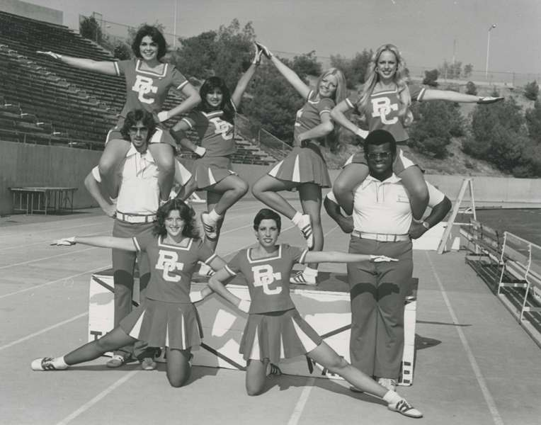 8 BC Cheerleaders, circa 1975, including Vernon Chappel