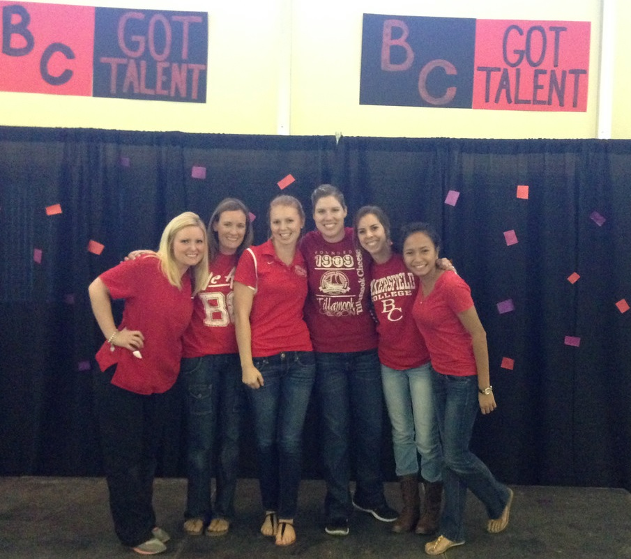 Six students on stage at BCs Got Talent
