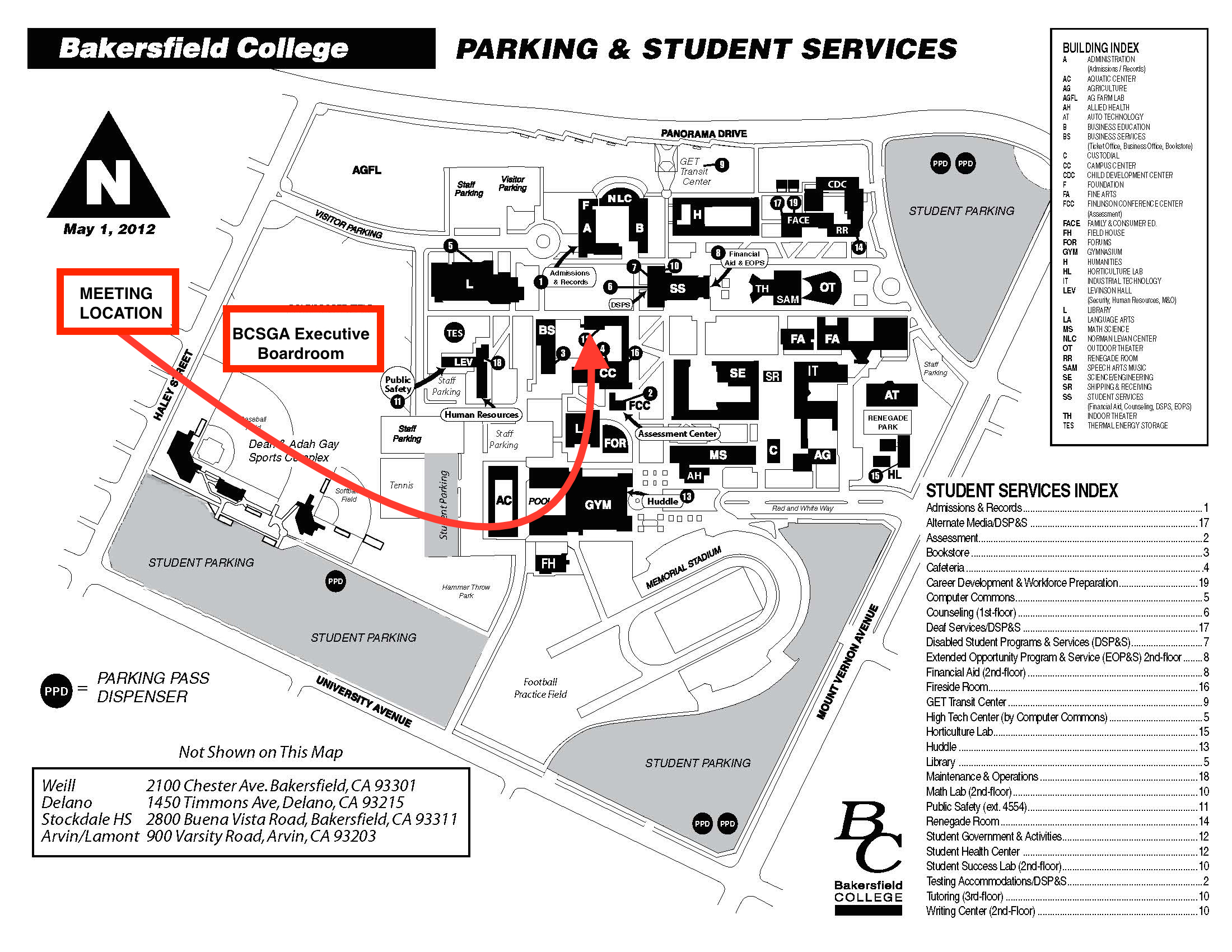 Campus Map displaying location of BCSGA Boardroom