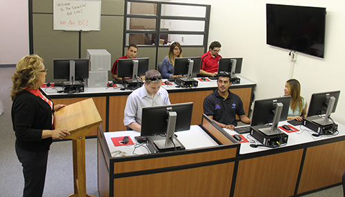 BC Students in a small computer lab