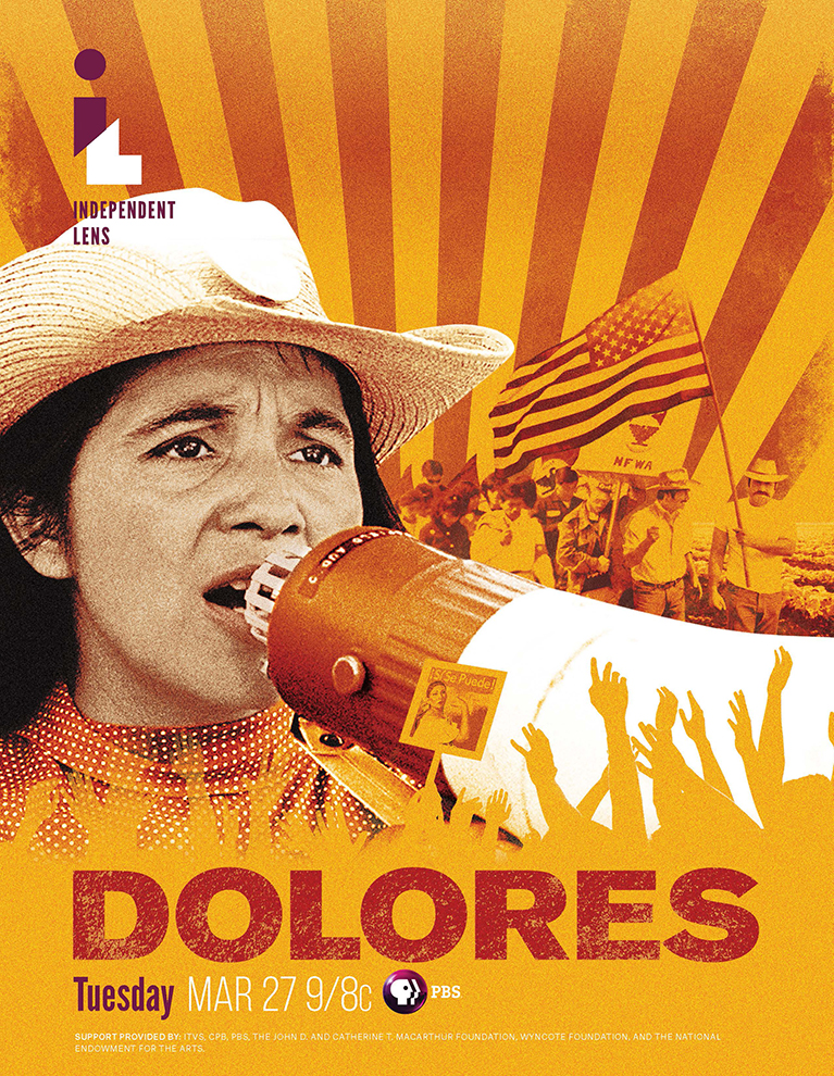 Movie poster with Dolores speaking into a bullhorn with American Flag in background.