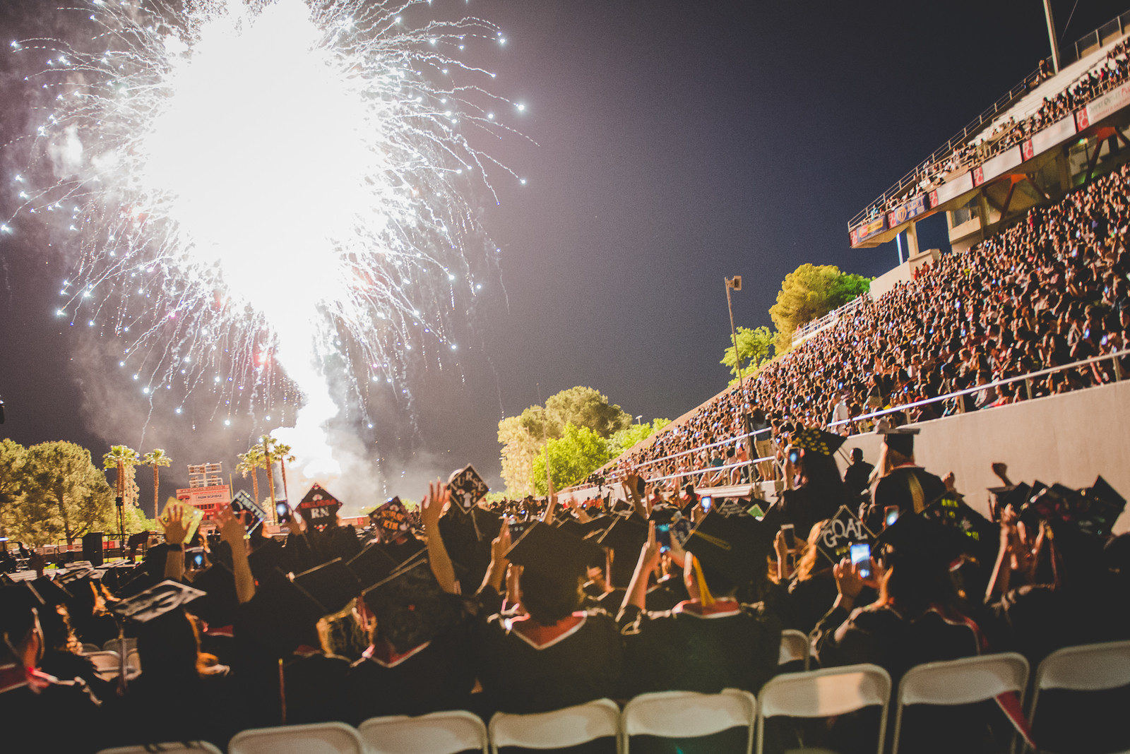 Fireworks at 2016 Commencement