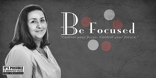 Habits of Mind Be Focused Poster featuring a student and the words Be Focused - Never lose sight of your goals.