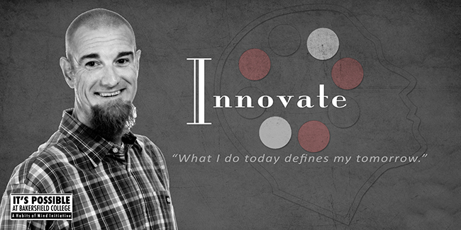 Habits of Mind Innovate Poster featuring student and words Innovate- What i do today defines my tomorrow.