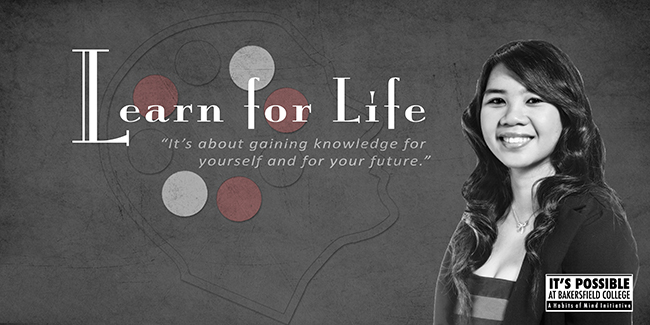 Habits of Mind Learn for Life Poster featuring a student and the words Learn for Life - It's about gaining knowledge for yourself and for your future.