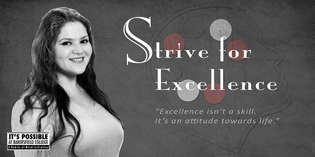 Habits of Mind Strive for Excellence poster featuring a student and the words - Strive for Excellence - Excellence isn't a skill, it's an attitude towards life.