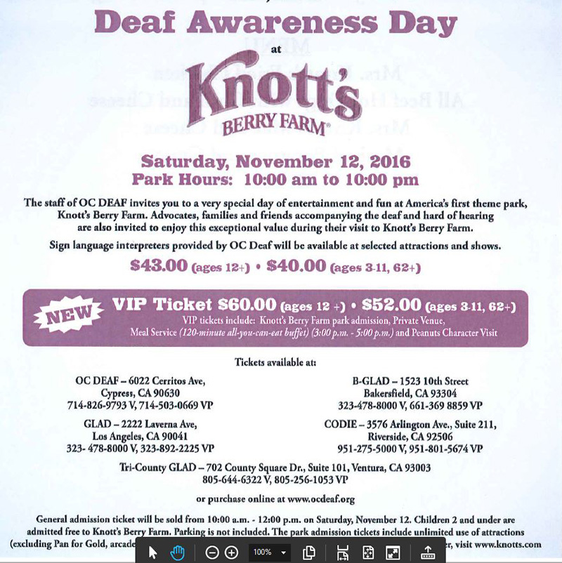 Deaf Awareness Day at Knott's Berry Farm