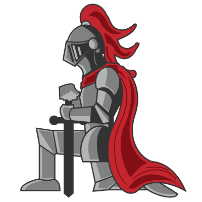 Kneeling Knight, helmet bowed, arms propped up by sword.