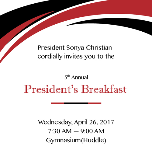 President's Breakfast Invitation - April 26, 2017 at 7:00AM at the BC Huddle