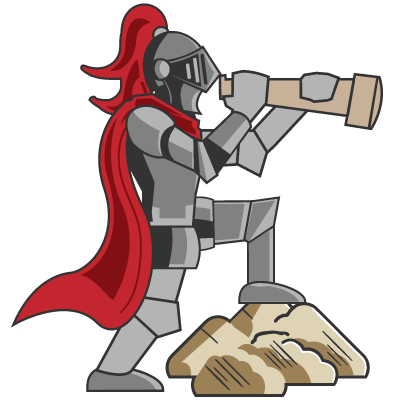 A knight standing with one leg on a stone. His arms are raised, lifting a telescope to his helmet