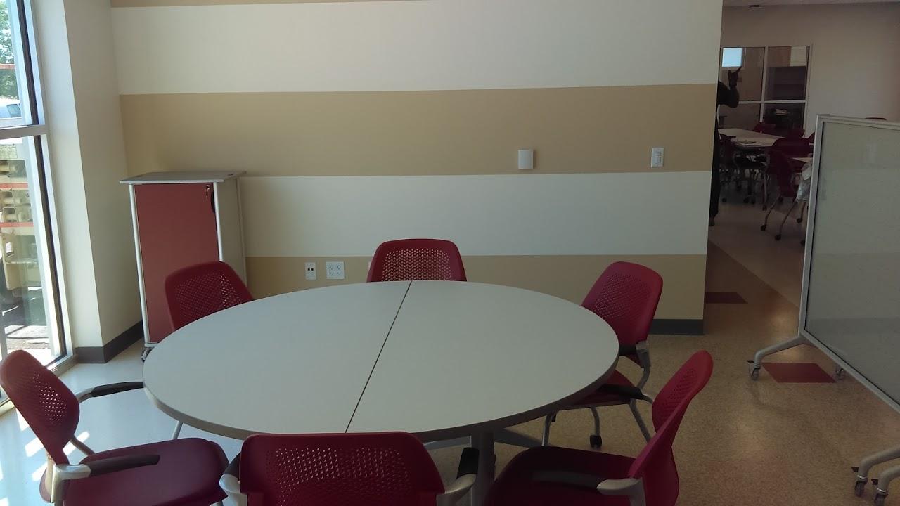 Round table inside STEM Center