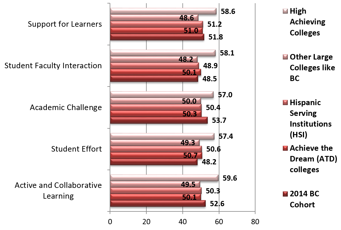 Graph displaying results of 2014 CCSSE survey. Selecting the graph produces a larger version of the graph. A link to a text version is below the image.