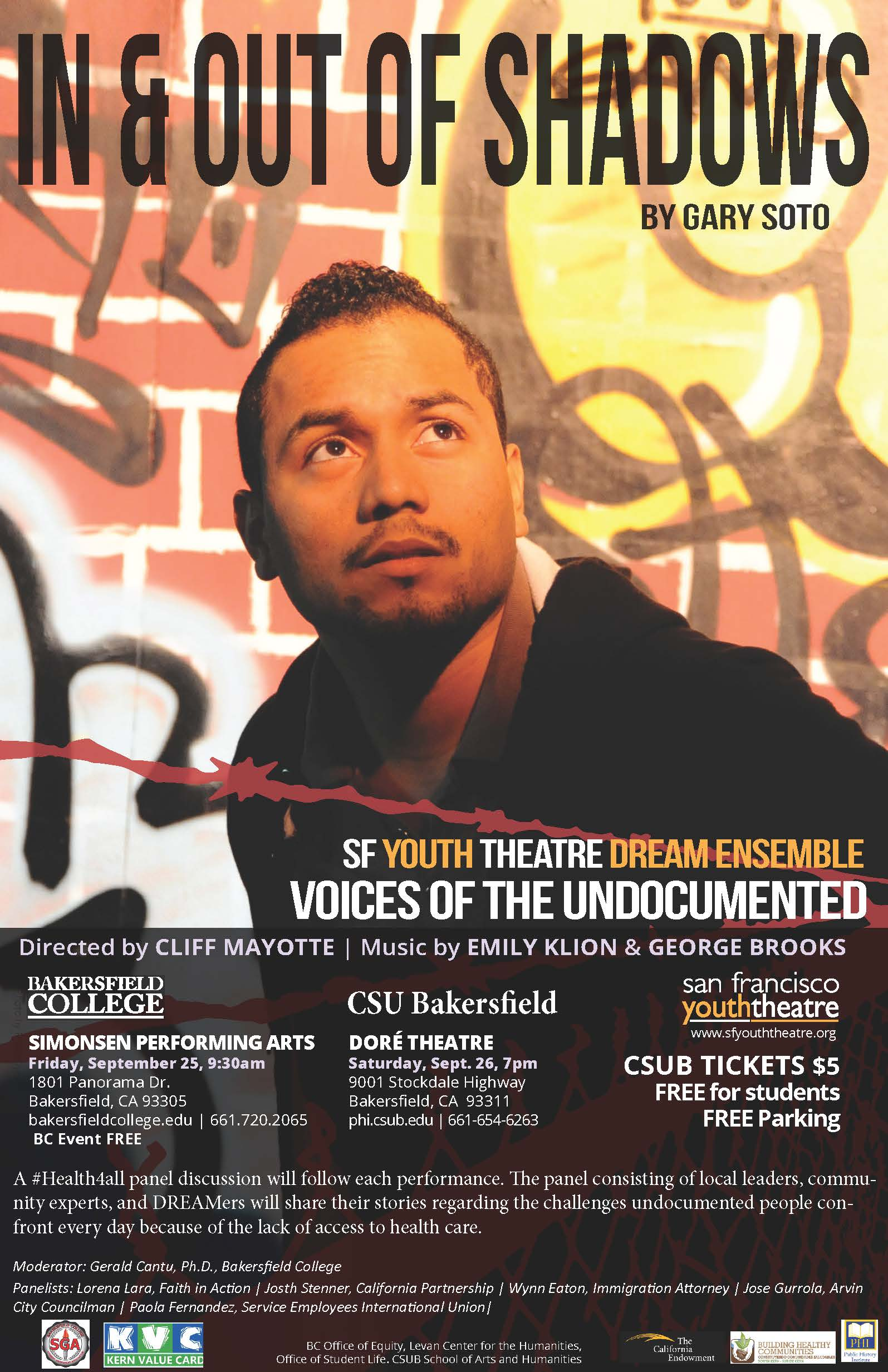 In & Out of Shadows by Gary Soto. Presented by San Francisco Youth Theatre Dream Ensemble at the SPARC Indoor Theatre Friday, Sept. 25 at 9:30 am. Free!