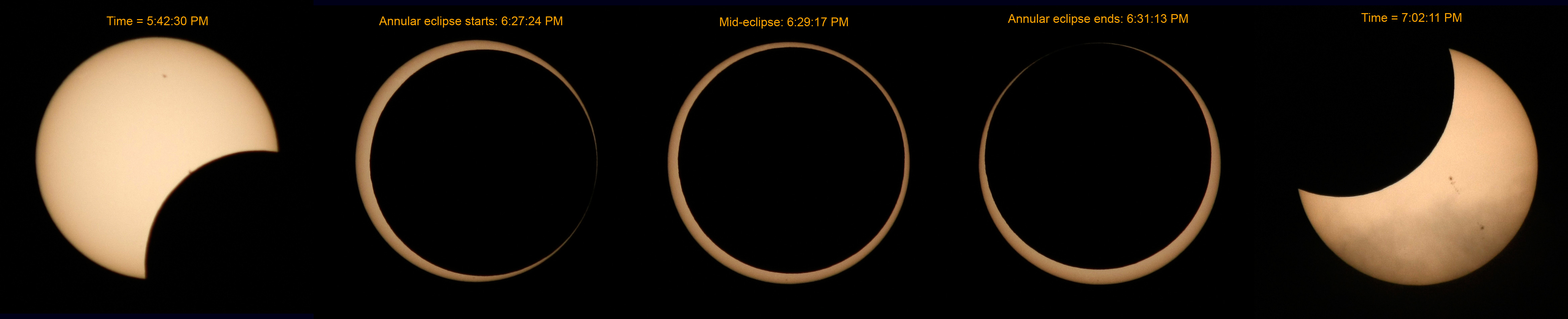 May 20, 2012 Annular Solar Eclipse from Red Bluff, CA