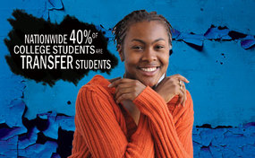 "student smiles at camera with text: ""Nationawide 40% of college students are transfer students"""