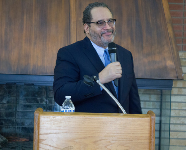 Dr. Michael Eric Dyson speaking in the Fireside Room