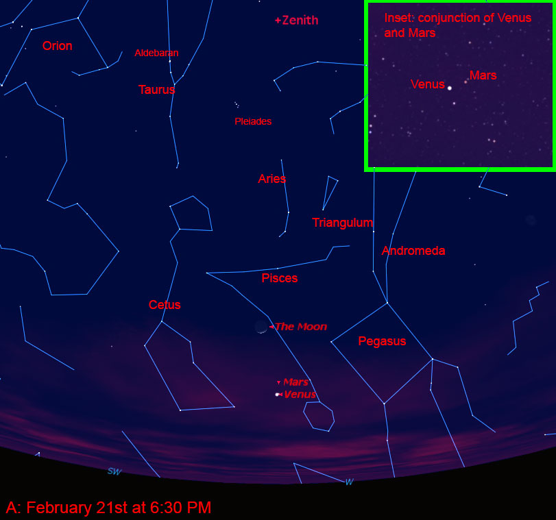 February 21, 2015 at 6:30 PM looking west-southwest with Venus-Mars conjunction
