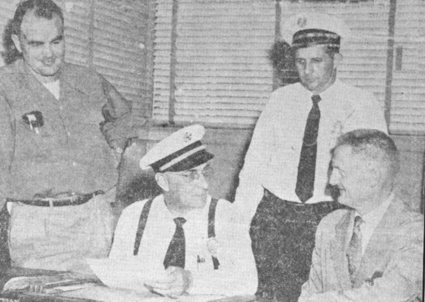 akersfield College is full of history, the photo on the left  Beaty, football coach; Chief Phil Pifer (seated); Robert Padock assistant chief, and Norman Harris, coordinator of technical vocational education at Bakersfield college (right). Meet to plan college and on the job training for city fire department trainees.