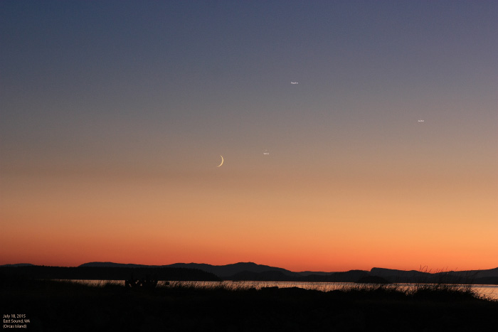 Annotated Crescent Moon with Venus, Jupiter and Regulus on July 18, 2015