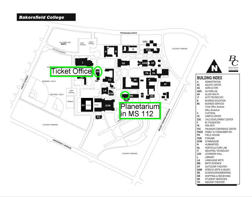 Map to Ticket Office and Planetarium