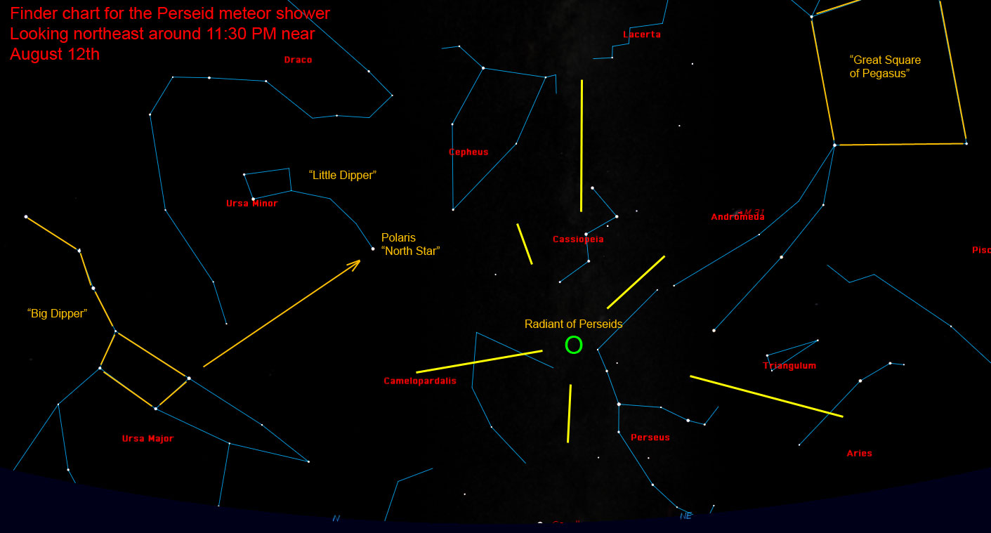 Perseid meteor shower radiant finder chart