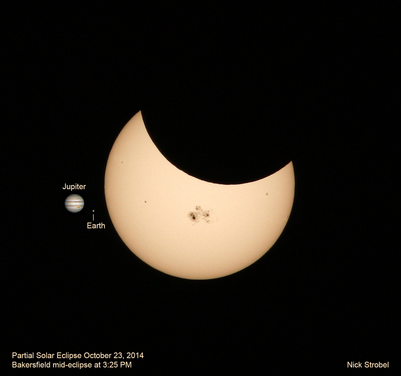 October 23, 2014 partial solar eclipse with Jupiter and Earth for scale