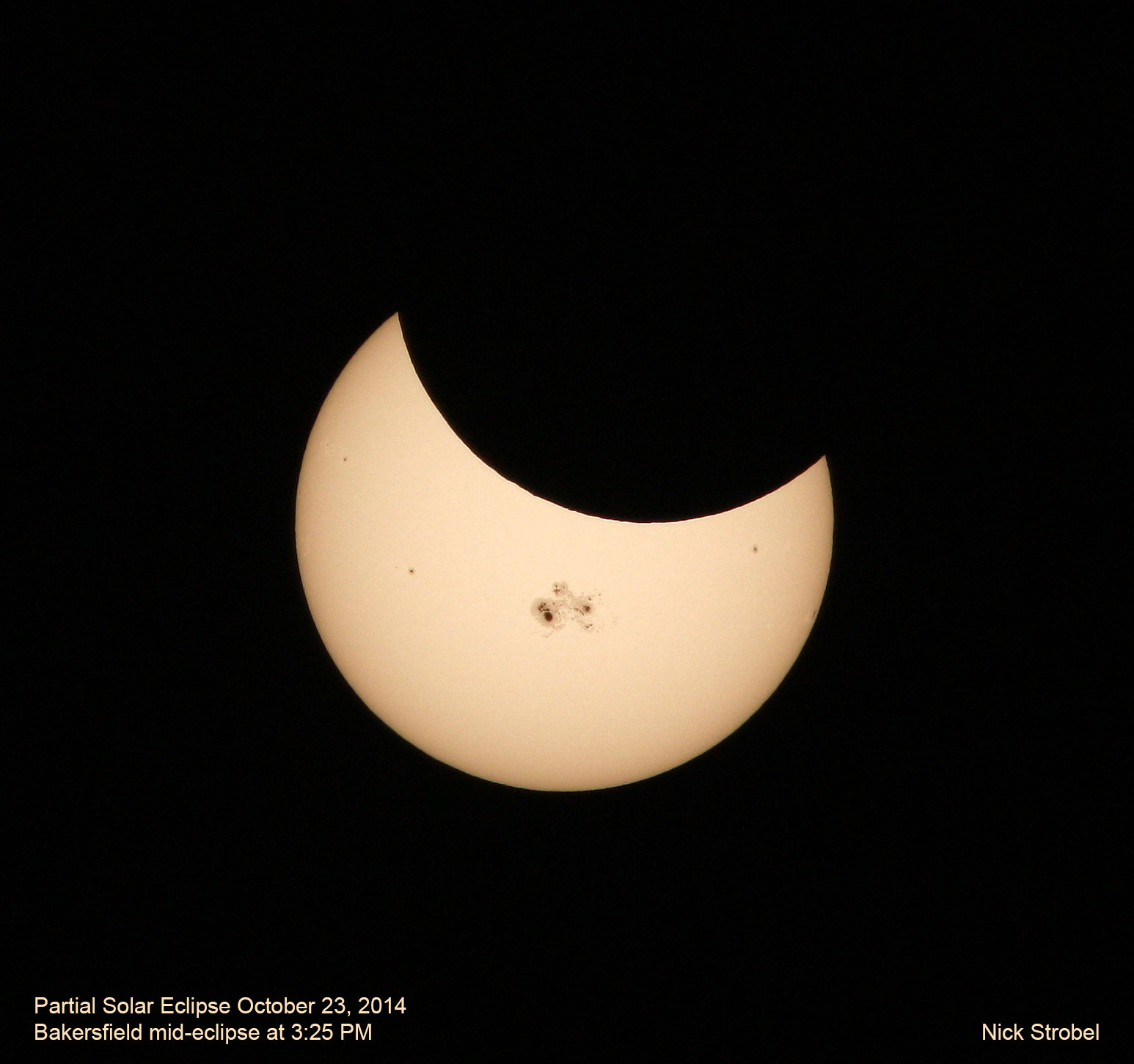 Solar eclipse of October 23, 2014 from Bakersfield