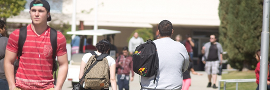 Students walk on Bakersfield College campus