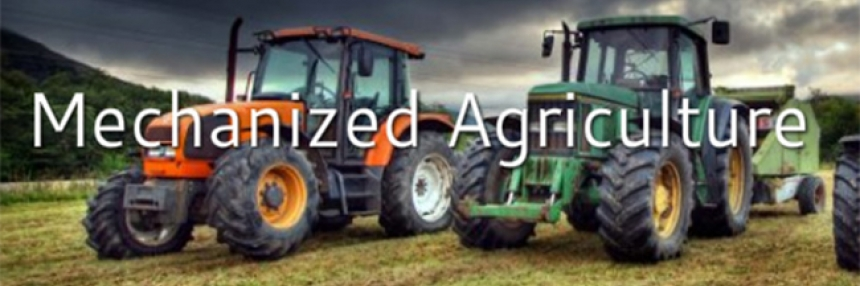 "Mechanized Agriculture header - tractors, with words ""Mechanized Agriculture"""