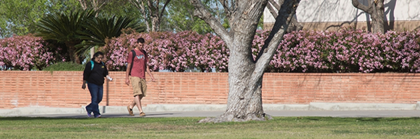 Students walk across Bakersfield College campus