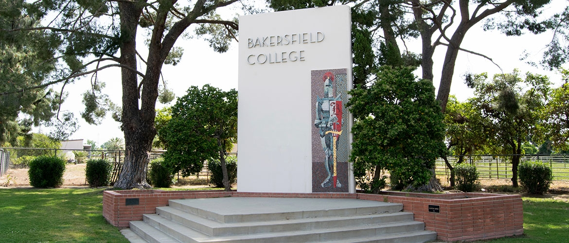 photo of the Bakersfield College monument on Panorama Drive