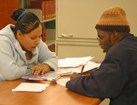 Students study in the library