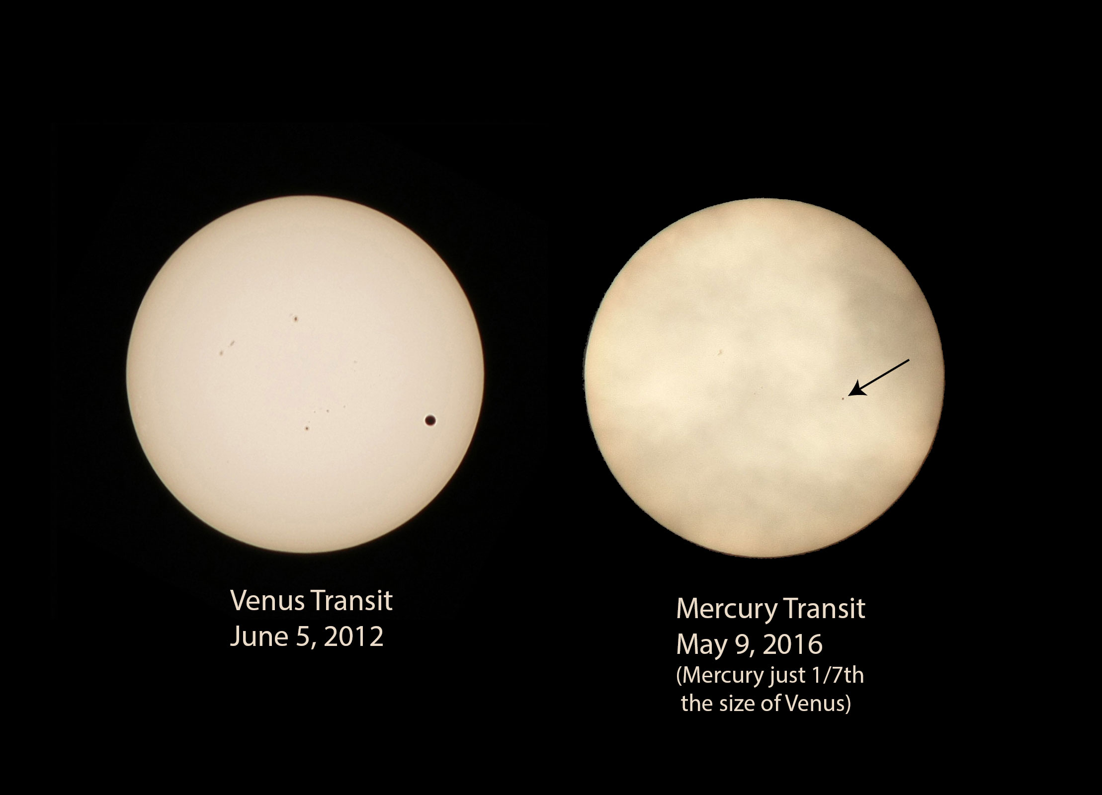 Comparison of Venus transit 2012 and Mercury transit 2016