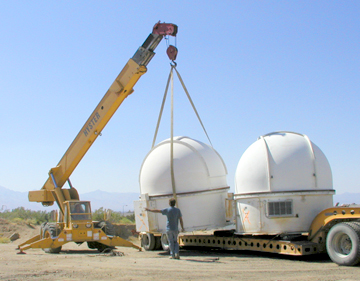 Moving the domes into place