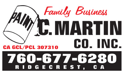 C. Martin Co. Inc. Paint. Family Business. CA GCL/PCL 307310. 760-677-6280. Ridgecrest, CA.