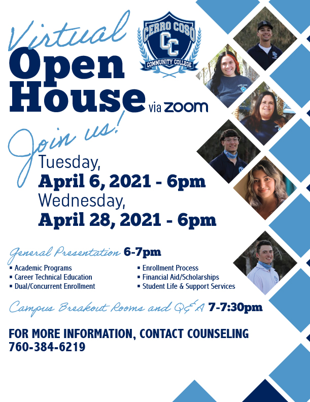 Virtual Open House Flyer - April 6 and April 28, 2021