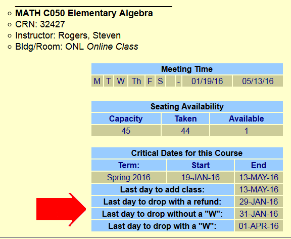 Detail of Schedule of Classes pop-up window showing drop dates