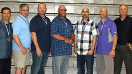 Representatives of the 1993 Coyote Baseball Team inducted into the CC Athletic Hall of Fame (l to r): Dave Navarro (Assistant Coach), Jason Harrison, Kevin Sarna, Paul Basset, Ernie Verso, Keith Habig, and Dick Adams (Coach).