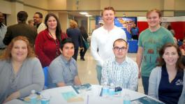 Cerro coso students (seated, l to r) Connie Leyna, Alex Tellez, Tanner Barnett, Kristiana Ogilvie, (standing, l to r)  Trisha Lason, Cameron LaBrie, and Kurtis Williams attended the Ridgecrest Chamber's 2015 Economic Outlook Conference on Generational Differences.