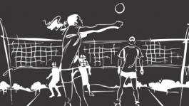 Black and White Volleyball Line Graphic
