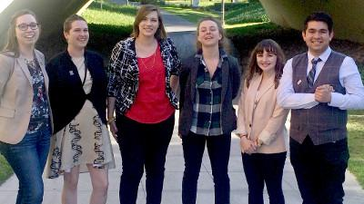 Caption: Cerro Coso students present research at conference in Irvine (l to r): Kayla Voigt,  Stephanie Mendoza, Jenna Daughtery, Carol Blair, Kelsey Hire, and Alejandro Tellez-Cruz.