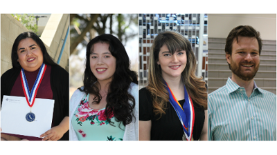 Cerro Coso students l to r make All-California Academic First Team: Mariela German (CCOnline), Britney Brown and Caitlin Peterson (IWV Campus), and Greg Kutzback (Bishop Campus).