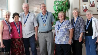L to r: Jeannette Bournival, June Wasserman, Don Mourton, Jon Tittle, Janet Westbrook, Martha Rogers, and Carol Hewer.