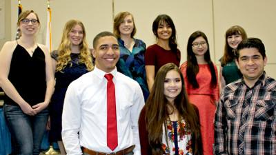 Front l to r: Theodore Valdez, Kirstie Wittendorfer, and Alex Tellez-Cruz. Back l to r: Kayla Voigt, Natalie Boggs, Jenna Daugherty, Angelica Gabaldon, Elinelle Lee, and Kelsey Hire. Not pictured: Brian McKnight.