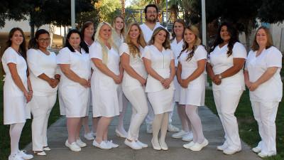 2017 Vocational Nursing graduates front row l to r: Kara Olson, Briana Dawson, Amy Tylosky, Kourtney Pott, Veronica Hepker, Rose Jones, Alyssa Griffin, Sonia Torres, Alfie Mullins. Back row l to r: Kimberly Tanner, Alexis Moore, David Sweeney, Christine Tracy.