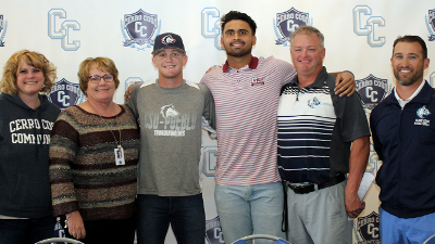 L to r: Heather Ostash, Vice President of Student Services; Jill Board, Cerro Coso President; Cole Martin; Tyson Banks; Justus Scott, Head Baseball Coach; and John McHenry, Athletic Director.