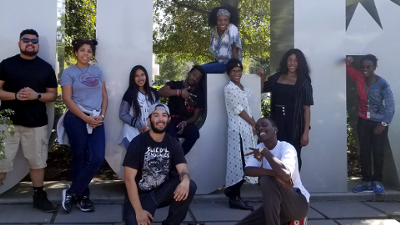 Left to right: Director of Student Equity Blaine Simmons, Novena Pena, Eben Patterson, Najee Tatemilton, Teshaun Clairborne (TK), Robin Bauldwin, Makaila Constant, Ashleigh Ayers, and Melissa Briley. Not pictured is trip advisor and English Professor Melanie Jeffrey.