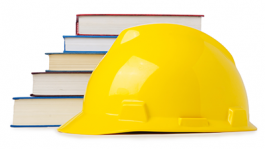 Hard hat with books